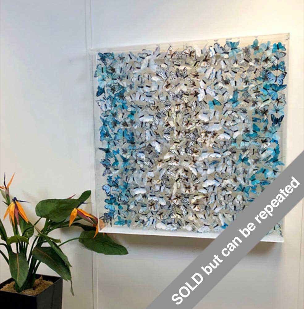 Blue Ombre Butterfly Art